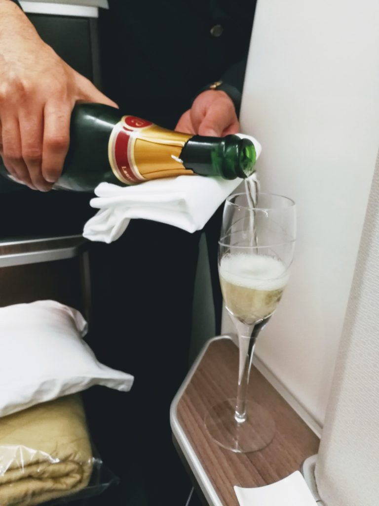 Oman Air Review - Champagne