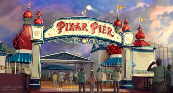 PIXAR PIER MARQUEE AT DISNEY CALIFORNIA ADVENTURE (ANAHEIM, Calif.) – When Pixar Pier opens on June 23 at Disney California Adventure park, guests will enter the permanent new land through a dazzling new Pixar Pier marquee. This reimagined land will feature four whimsical neighborhoods representing beloved Pixar stories with newly themed attractions, foods and merchandise. The Pixar Pier marquee will be topped with the iconic Pixar lamp later in the year. (Disney•Pixar/Disneyland Resort) (PRNewsfoto/Disneyland Resort)